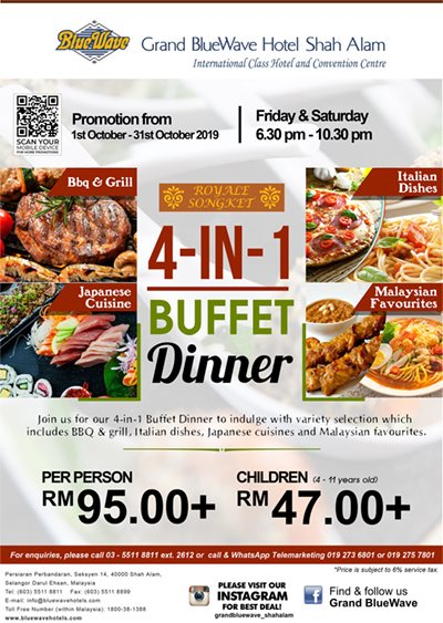 Restoran Royal Songket Tawarkan 4 in 1 Buffet Dinner